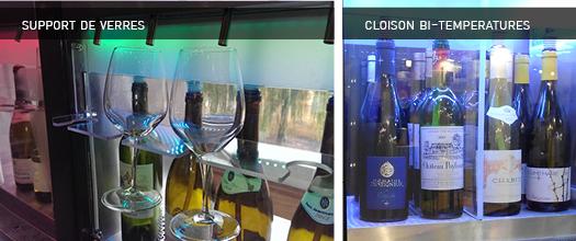 distributeur de vin au verre cloison bi-temperatures et support de verres