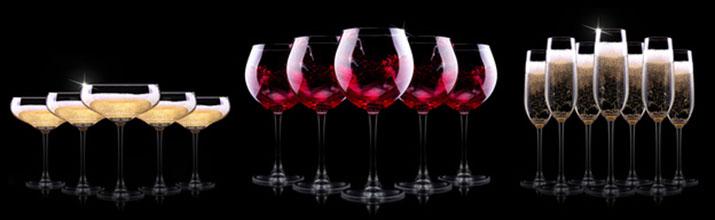 vin au verre et champagne à la coupe et champagne au verre